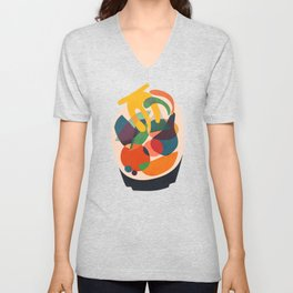 Fruits in wooden bowl Unisex V-Neck