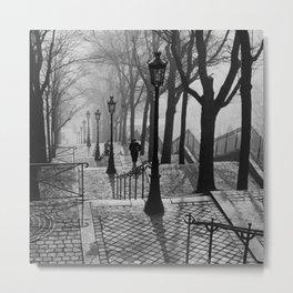 Sacre Coeur, Montmartre, Paris, France Stairs black and white photograph / black and white photography Metal Print