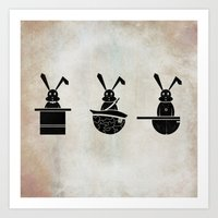 rabbits Art Prints featuring rabbits by gazonula