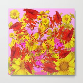 AWESOME RED AMARYLLIS & YELLOW COREOPSIS RED ABSTRACT GARDEN Metal Print