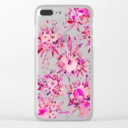 GIMME THAT Pink Wild Floral Clear iPhone Case
