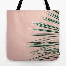 Green on Coral | Botanical modern photography print | Tropical vibe art Tote Bag