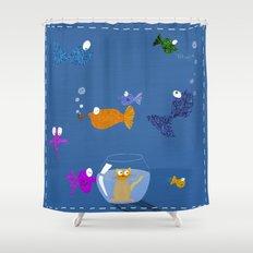 kitty's nightmare Shower Curtain