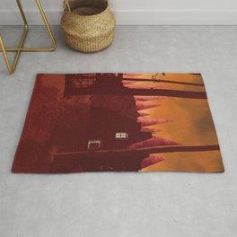 Digital painting art, castle at dawn poster Rug