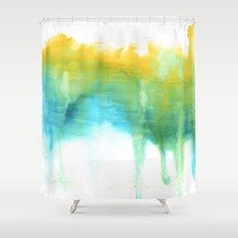 Yellow and Turquoise Hazy Horizon Shower Curtain