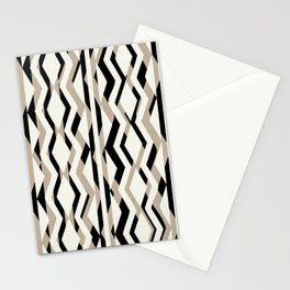 Abstract Cream Brown Black Geometric Pattern Stationery Cards