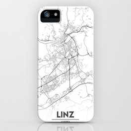 Minimal City Maps - Map Of Linz, Austria. iPhone Case