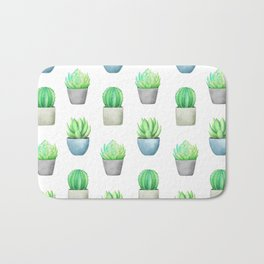 Succulent and Cactus Garden Pots Pattern Bath Mat