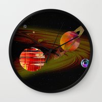 solar system Wall Clocks featuring solar system I by donphil