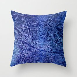 Map of Florence Italy, year 1890 Throw Pillow