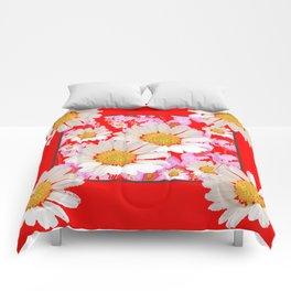 MODERN  DAISY FLOWER  RED ABSTRACT ART DESIGN Comforters