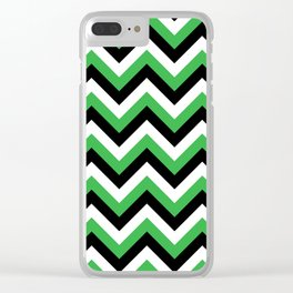 Green White and Black Chevrons Clear iPhone Case