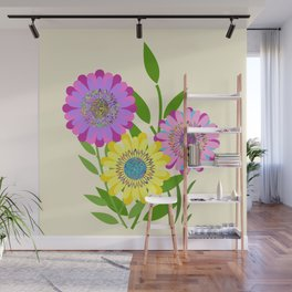 Three Fancy Flowers Wall Mural