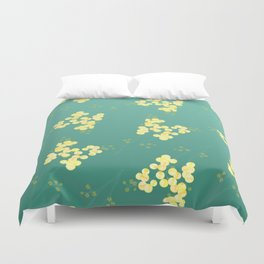 Watercolor Wattle in Teal and Yellow Duvet Cover
