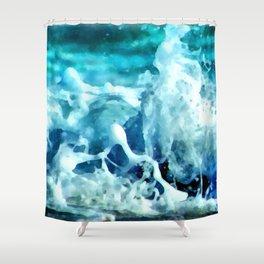 Sea Splash Watercolor Shower Curtain