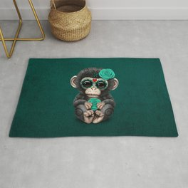 Teal Blue Day of the Dead Sugar Skull Baby Chimp Rug