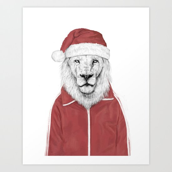 Santa lion Art Print