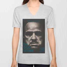 The Godfather, minimalist movie poster, Marlon Brando, Al Pacino, Francis Ford Coppola gangster film Unisex V-Neck