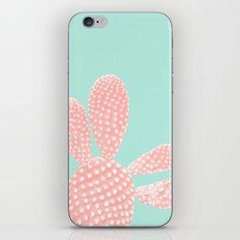 Apricot Blush Cactus on Mint Summer Dream #1 #plant #decor #art #society6 iPhone Skin