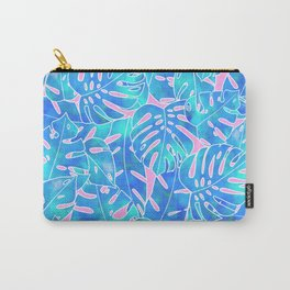 Blue watercolor monstera on pink background pattern Carry-All Pouch