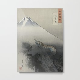 Dragon Rising to the Heavens at Mount Fuji by Ogata Gekko Metal Print