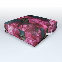 Peony Romance Teal Outdoor Floor Cushion
