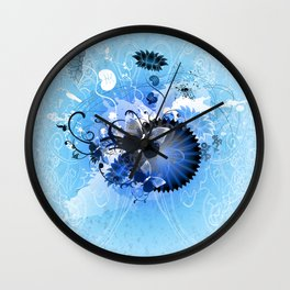 Cool Blue Autumn Jamboree Wall Clock