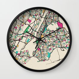 Colorful City Maps: New York City, USA Wall Clock