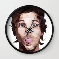 louis tomlinson Wall Clocks featuring Louis Tomlinson - One Direction by jrrrdan