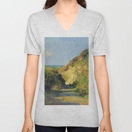 """Claude Monet """"Le chemin creux"""" """"(The hollow road)"""" Unisex V-Neck"""