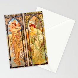 """Alphonse Mucha """"Times of day"""" Stationery Cards"""