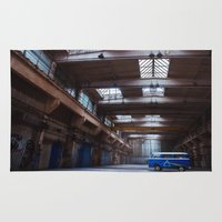 vw bus Area & Throw Rugs featuring Dark side of the VW bus by monicamarcov