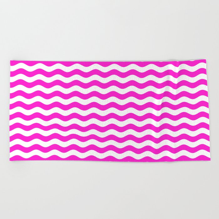 Wavy Stripes (Hot Magenta/White) Beach Towel