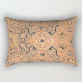 Persian Motif IV // 17th Century Ornate Rose Gold Silver Royal Blue Yellow Flowery Accent Rug Patter Rectangular Pillow
