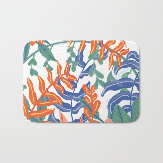Abstract Tropical Pattern Bath Mat