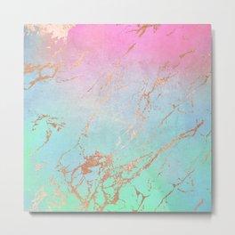 Rainbow Glamour Marble Texture Metal Print