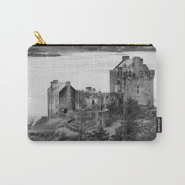 Eilean Donan Castle in B and W Carry-All Pouch