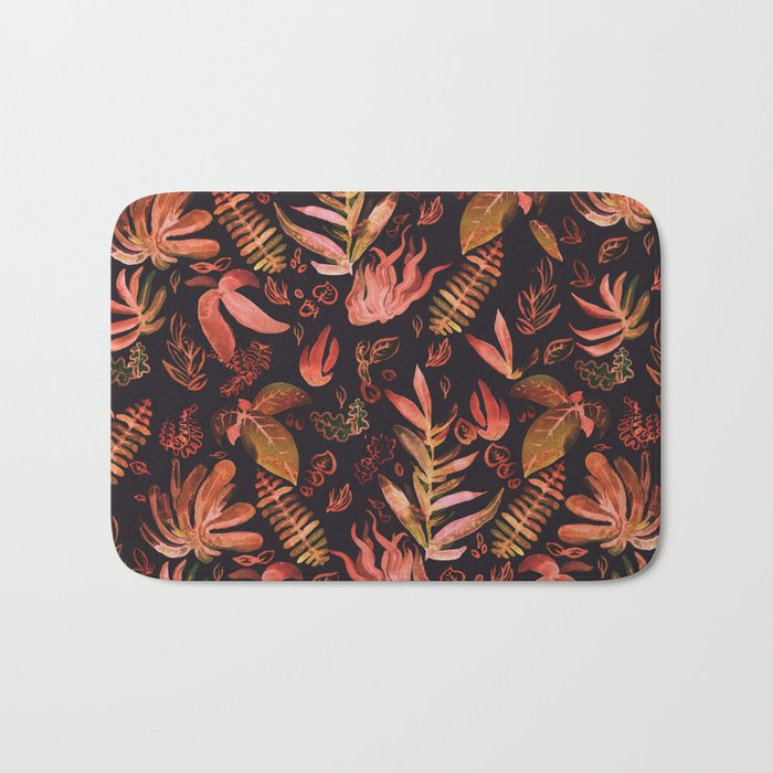 brown watercolor leaves Bath Mat