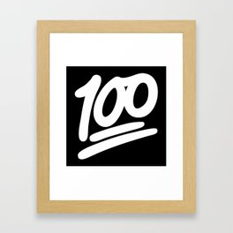 100 EMOJI WHITE Framed Art Print