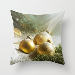 Gold Christmas Ornaments in Snow with Garland & Warm Glory Light Throw Pillow