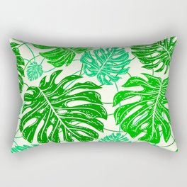 Tropical Jungle Leaves Island-Style Pattern in Gorgeous Green Rectangular Pillow