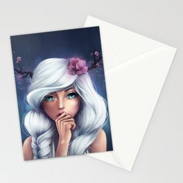 White-haired Girl Stationery Cards