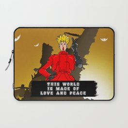 This World is Made of Love and Peace with Background Laptop Sleeve