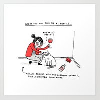 drunk Art Prints featuring Me, At Parties by gemma correll