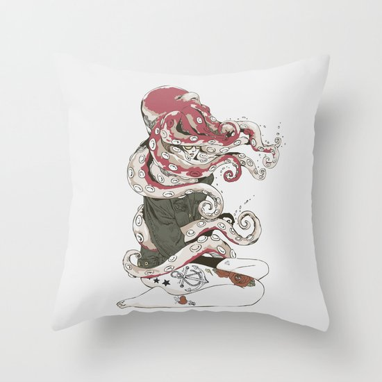 My head is an octopus Throw Pillow