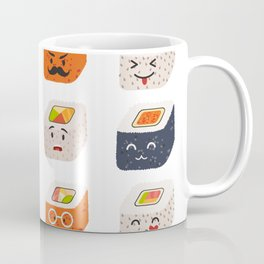 Sushi and sashimi emoji vector set. Emoji sushi with faces icons Coffee Mug