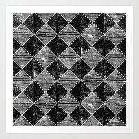 Chequers I Black Art Print