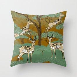 African Springboks Safari Throw Pillow