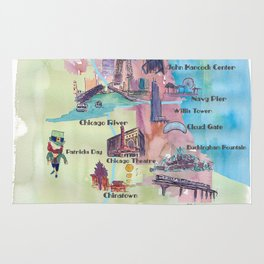 Chicago Favorite Map with touristic Top Ten Highlights in Colorful Retro Style Rug