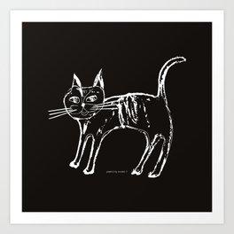 Little cat  white-black Art Print